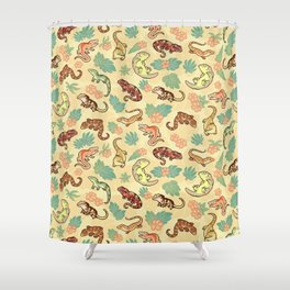 Gecko family in yellow Shower Curtain