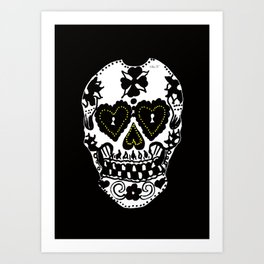 Sugar Skull - Black and White Art Print