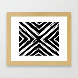 Minimalistic Black and White Paint Brush Triangle Diamond Pattern Framed Art Print