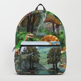 Jurassic dinosaurs drink in the river Backpack