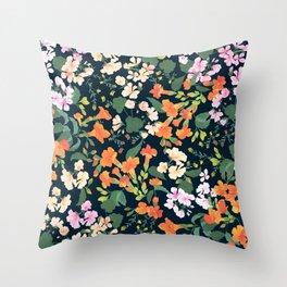 Campsis & Geraniums Throw Pillow