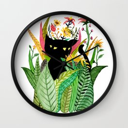 Cat Flower Wall Clock