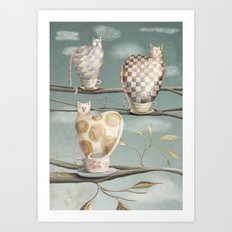 Cats in Cups Art Print
