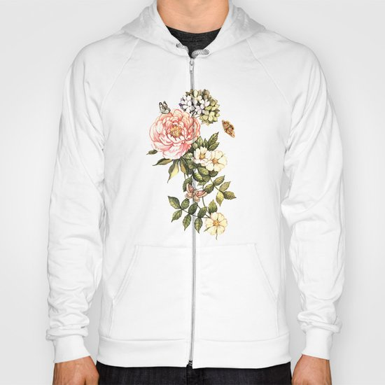 Vintage floral watercolor background Hoody