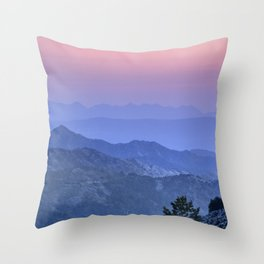 """Mountain dreams II"". At sunset. Throw Pillow"
