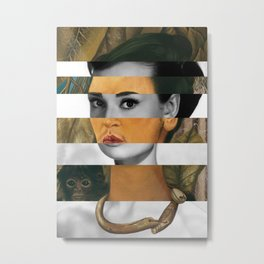 Frida Kahlo's Self Portrait with Monkey & Audrey Hepburn Metal Print