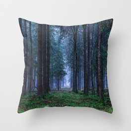 Green Magic Forest - Landscape Nature Photography Throw Pillow
