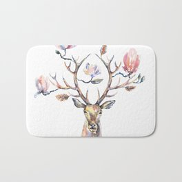 Deer's head with magnolia flowers on the horns. Bath Mat