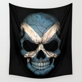 Dark Skull with Flag of Scotland Wall Tapestry