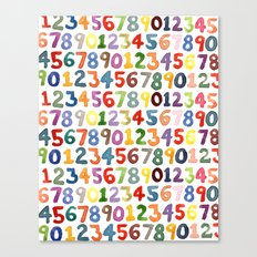 Watercolor Numbers Canvas Print