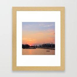 berlin kreuzberg -  skyline, sunset, river and boats Framed Art Print