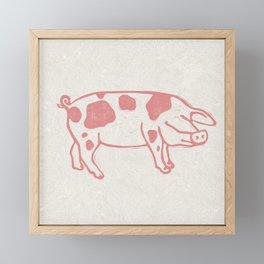 Raspberry Pink Spotted Pig Lino Print Framed Mini Art Print