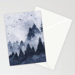 Dark blue misty forest Stationery Cards