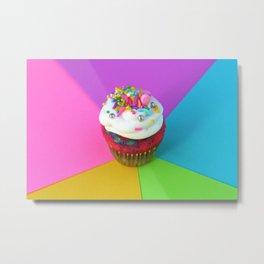 Tie Dye Cupcake Metal Print