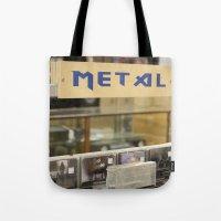 metal Tote Bags featuring Metal by Bingz
