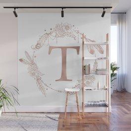 Letter T Rose Gold Pink Initial Monogram Wall Mural