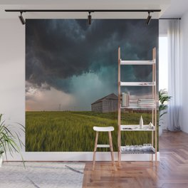 Rainy Day - Storm Passes Behind Barn in Southwest Oklahoma Wall Mural