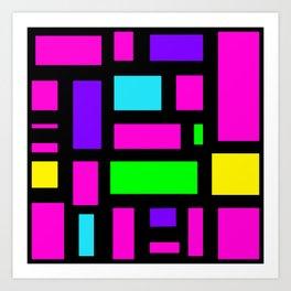 Multicoloured rectangle pattern Art Print