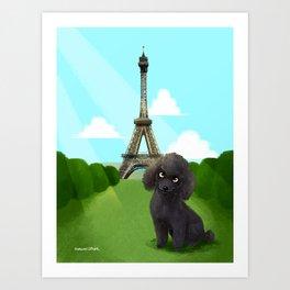 Poodle in Paris Art Print