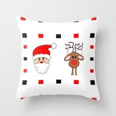 Santa And His Reindeer Throw Pillow