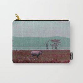 Black Rhino in Pink Carry-All Pouch