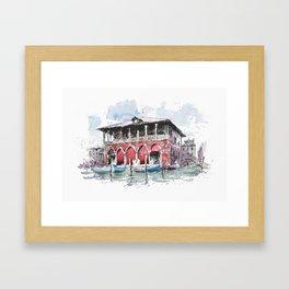 Venice Fish Market, Watercolor on paper Framed Art Print