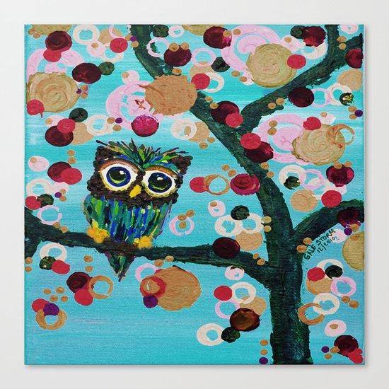 :: Gemmy Owl Loves Jewel Trees :: Canvas Print