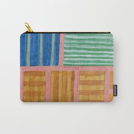 Beautiful Stripes Pattern within a Pink Grid Carry-All Pouch