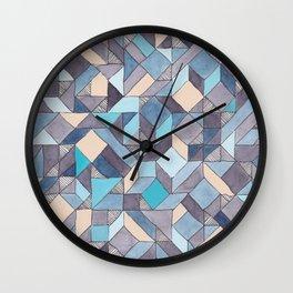 Shifitng Geometric Pattern in Blue Wall Clock