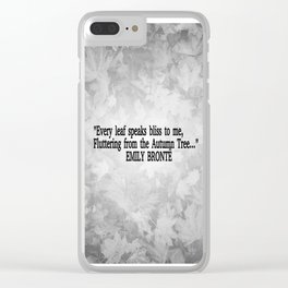 Autumn Literature Quotes Black and White Clear iPhone Case