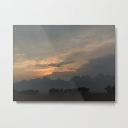 Sunset after the rain behind the mountains Metal Print