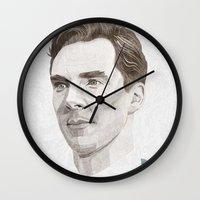 benedict cumberbatch Wall Clocks featuring Benedict Cumberbatch by Zaneta Antosik