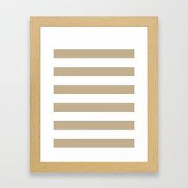 Horizontal Stripes - White and Khaki Brown Framed Art Print