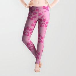 Cat pink paw prints pattern Leggings