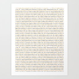 Yellow and Black Abstract Drawn Cryptic Lines Art Print