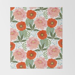 Pions and Poppies Throw Blanket