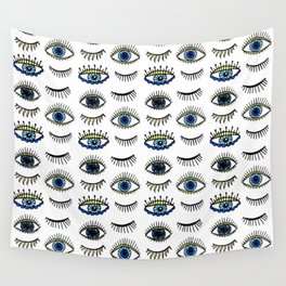 Evil Eyes Blue Yellow Lucky Charm Symbol Wall Tapestry