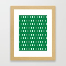 Christmas Trees minimal modern green and white holiday christmas decor Framed Art Print