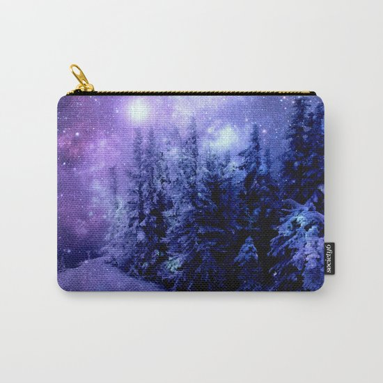 Galaxy Winter Forest Lavender Purple Blue Carry-All Pouch