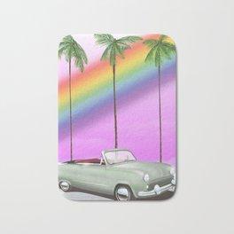 Vintage Car and rainbow, Bath Mat