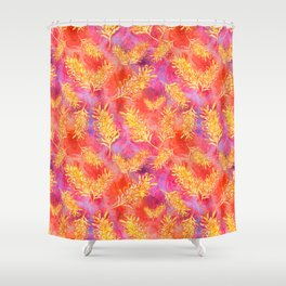 Watercolour Australian Native Floral Print - Grevillea Flowers Shower Curtain