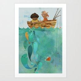 Fishing with Papa Art Print