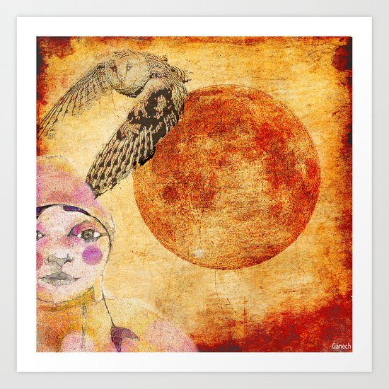 Shelsea and the red moon  Art Print