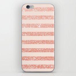Rose Gold and Glitter Stripes iPhone Skin