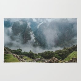 Panoramic view of the ancient Inca ruins of Machu Picchu & Andes mountains in the morning Rug