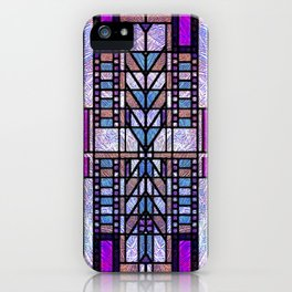 Purple and Blue Art Deco Stained Glass Design iPhone Case