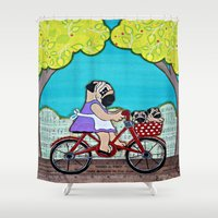 puppies Shower Curtains featuring Mama Pug and Puppies bike ride by Two Dancing Crows