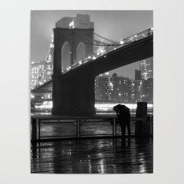 Brooklyn Bridge on a rainy night Poster