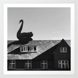 Swan Roof Art Print