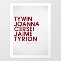 lannister Art Prints featuring House Lannister 1 Typography series II by P3RF3KT